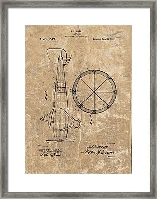 Vintage Airplane Patent Illustration 1918 Framed Print