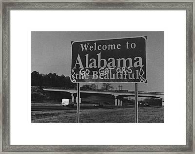 Vintage Alabama Florida Football Sign Framed Print by Retro Images Archive