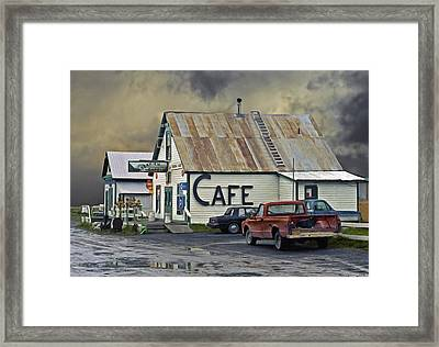 Vintage Alaska Cafe Framed Print by Ron Day