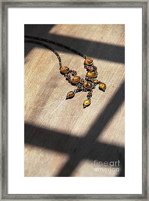 Vintage Amber Necklace Framed Print by Jill Battaglia
