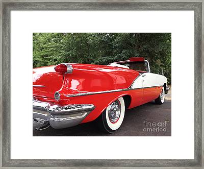 Vintage American Car - Red And White 1955 Oldsmobile Convertible Classic Car Framed Print by Kathy Fornal