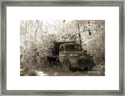 Vintage American Dodge Truck - Abandoned Vintage American Truck Sepia Print Framed Print by Kathy Fornal