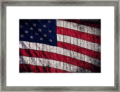 Vintage American Flag Framed Print by Leslie Banks