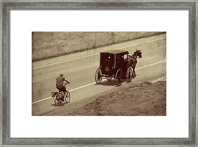 Vintage Amish Buggy And Bicycle Framed Print by Dan Sproul