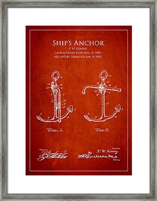 Vintage Anchor Patent Drawing From 1902 Framed Print by Aged Pixel