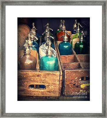 Vintage Antique Seltzer Bottles Framed Print