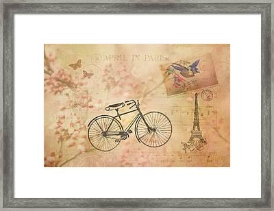 Vintage April In Paris Framed Print