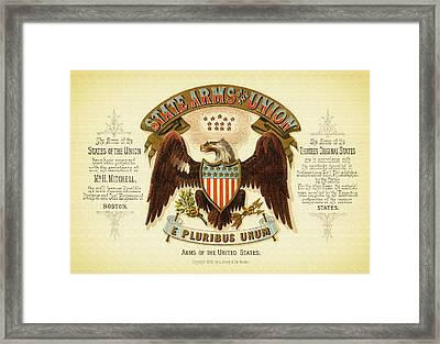 Vintage Arms Of The United States - 1876 Framed Print by Mountain Dreams