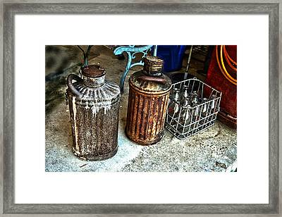 Framed Print featuring the photograph Hdr Vintage Art  Cans And Bottles by Lesa Fine