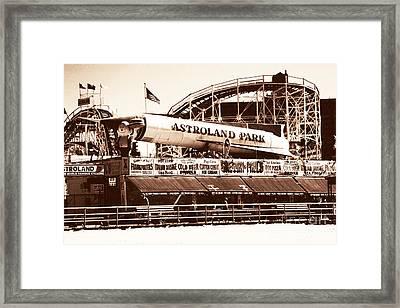 Vintage Astroland Park Framed Print by John Rizzuto