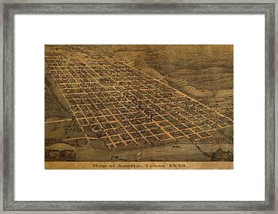 Vintage Austin Texas In 1873 City Map On Worn Canvas Framed Print by Design Turnpike