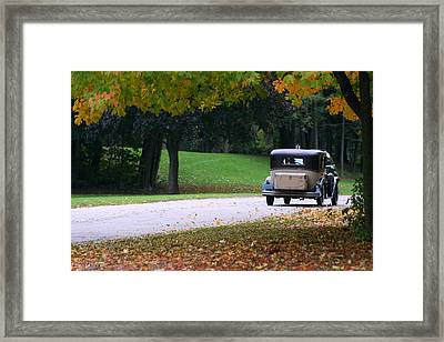Vintage Auto On The Road Again Framed Print by Kay Novy