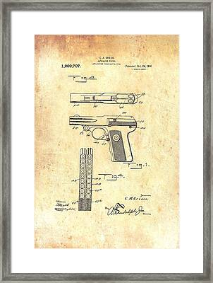 Vintage Automatic Pistol Patent Framed Print by Mountain Dreams