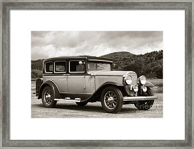 Vintage Automobile On Dirt Road Framed Print