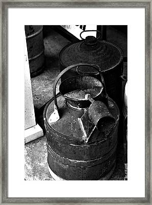 Framed Print featuring the photograph Vintage B/w Galvanized Container by Lesa Fine