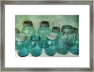Vintage Ball Jars Shabby Chic Cottage Aqua Blue Ball Jars Print Framed Print by Kathy Fornal