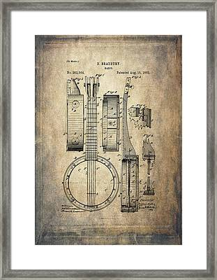 Vintage Banjo Patent Drawing Framed Print by Maria Angelica Maira