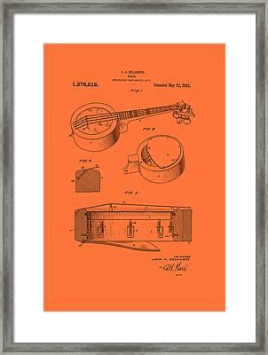 Vintage Banjo Patent Framed Print by Mountain Dreams