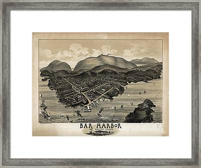Vintage Bar Harbor Map Framed Print by Charles Jorgensen