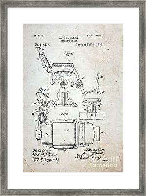 Vintage Barber Chair Patent Framed Print