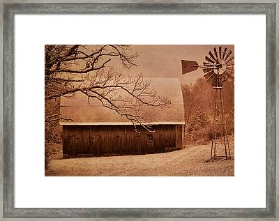 Vintage Barn And Windmill Winter Framed Print by Deena Stoddard