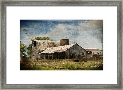 Barn -vintage Barn With Brick Silo - Luther Fine Art Framed Print by Luther Fine Art