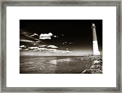Vintage Barnegat Lighthouse Framed Print by John Rizzuto