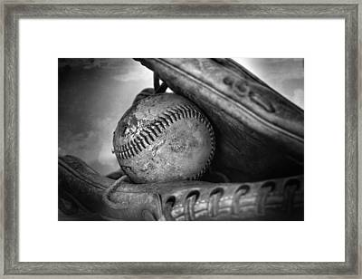 Vintage Baseball And Glove Framed Print by Dan Sproul