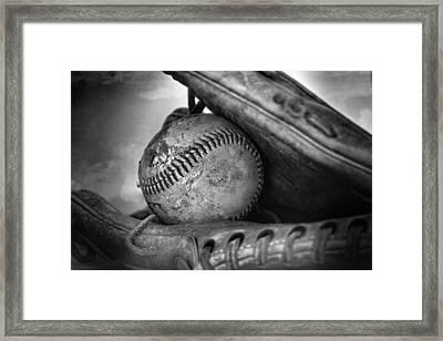 Vintage Baseball And Glove Framed Print