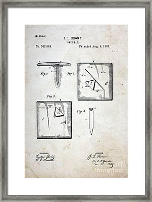 Vintage Baseball Base Patent Framed Print