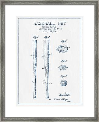 Vintage Baseball Bat Patent From 1939 - Blue Ink Framed Print by Aged Pixel