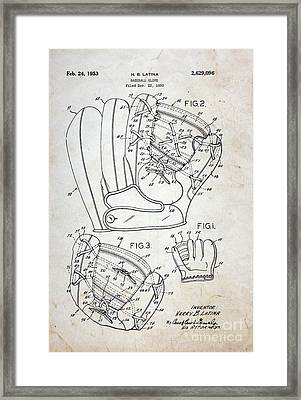 Vintage Baseball Glove Patent Framed Print by Paul Ward