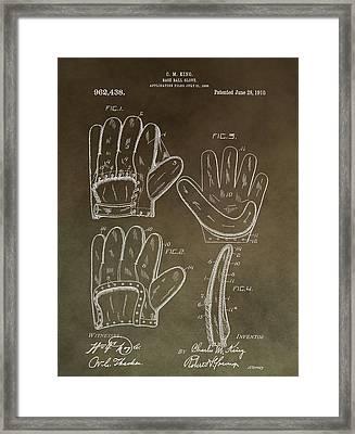 Vintage Baseball Mitt Patent Framed Print