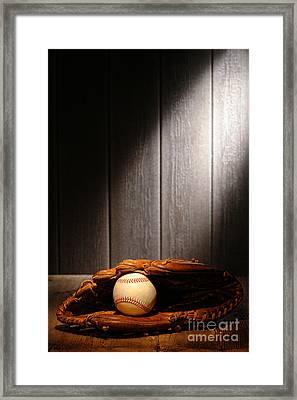 Vintage Baseball Framed Print by Olivier Le Queinec