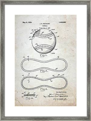 Vintage Baseball Patent Framed Print by Paul Ward