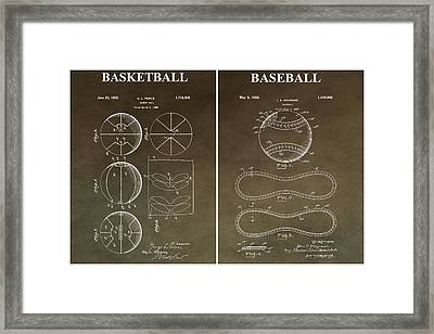 Vintage Basketball Baseball Patent Framed Print by Dan Sproul