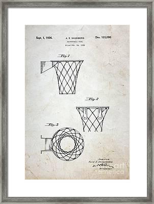 Vintage Basketball Hoop Patent Framed Print by Paul Ward