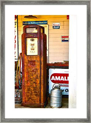 Framed Print featuring the photograph Vintage Bassett Gas Pump   by Lesa Fine