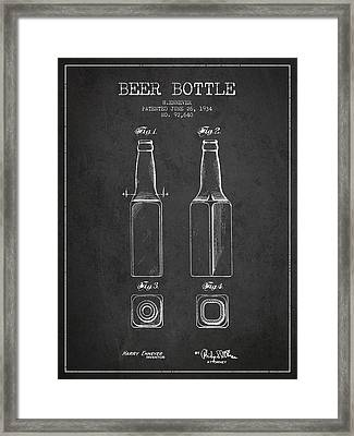 Vintage Beer Bottle Patent Drawing From 1934 - Dark Framed Print by Aged Pixel