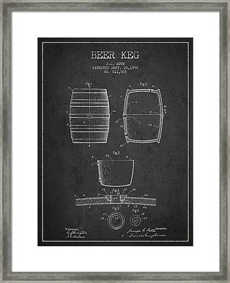 Vintage Beer Keg Patent Drawing From 1898 - Dark Framed Print