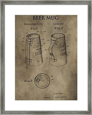 Vintage Beer Mug Patent Framed Print by Dan Sproul