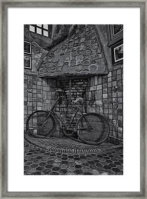 Vintage Bicycle Bw Framed Print