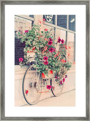 Vintage Bicycle Flowers Photograph Framed Print by Elle Moss