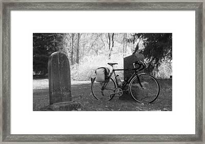 Vintage Bicycle In Graveyard Framed Print by Joyce  Wasser