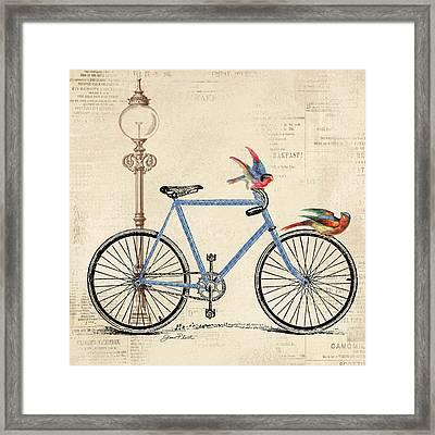 Vintage Bike-b Framed Print by Jean Plout
