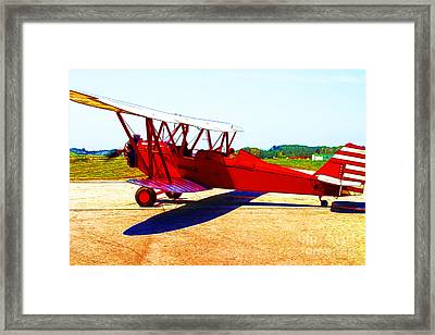 Vintage Biplane - 7d15525 - Color Sketch Style Framed Print by Wingsdomain Art and Photography