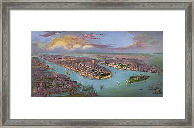 Vintage Bird's Eye View Of New York City - Circa 1885 Framed Print by Blue Monocle