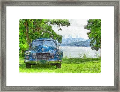 Vintage Blue Caddy At Lake George New York Framed Print by Edward Fielding