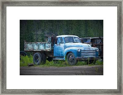 Vintage Blue Chevrolet Pickup Truck Framed Print by Randall Nyhof