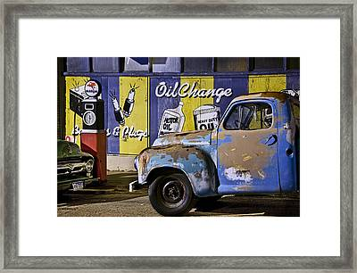 Vintage Blue Pickup And Gas Station Near Bisbee Az Framed Print